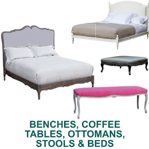 BENCHES, COFFEE TABLES, OTTOMANS, STOOLS & BEDS